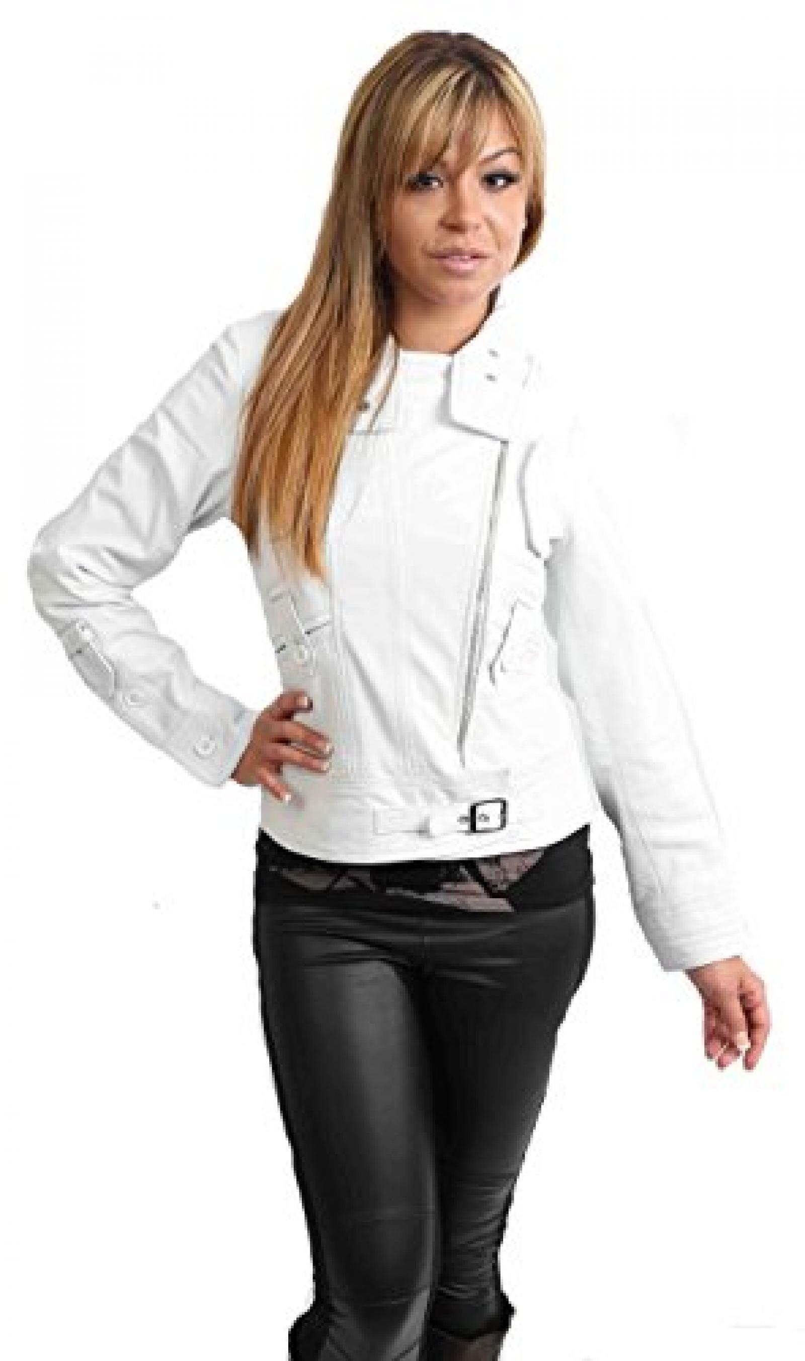 NEU AKTUELLE Damen Biker Lederjacke für Frauen HETTY weiß