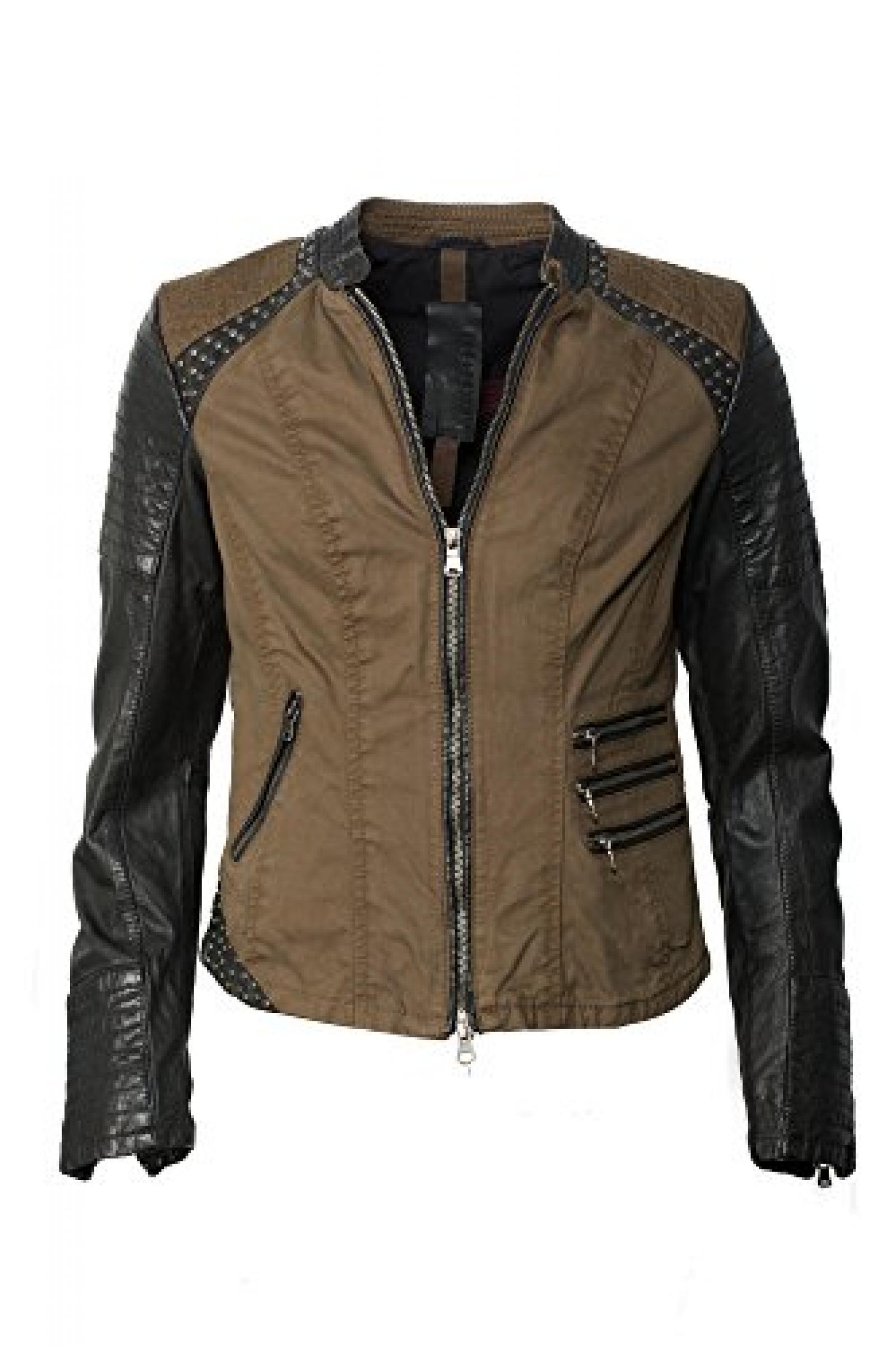 Einzigartig coole Lederjacke für Trendsetter! Khaki black Trendmodell vom Lifestylelabel Milestone!