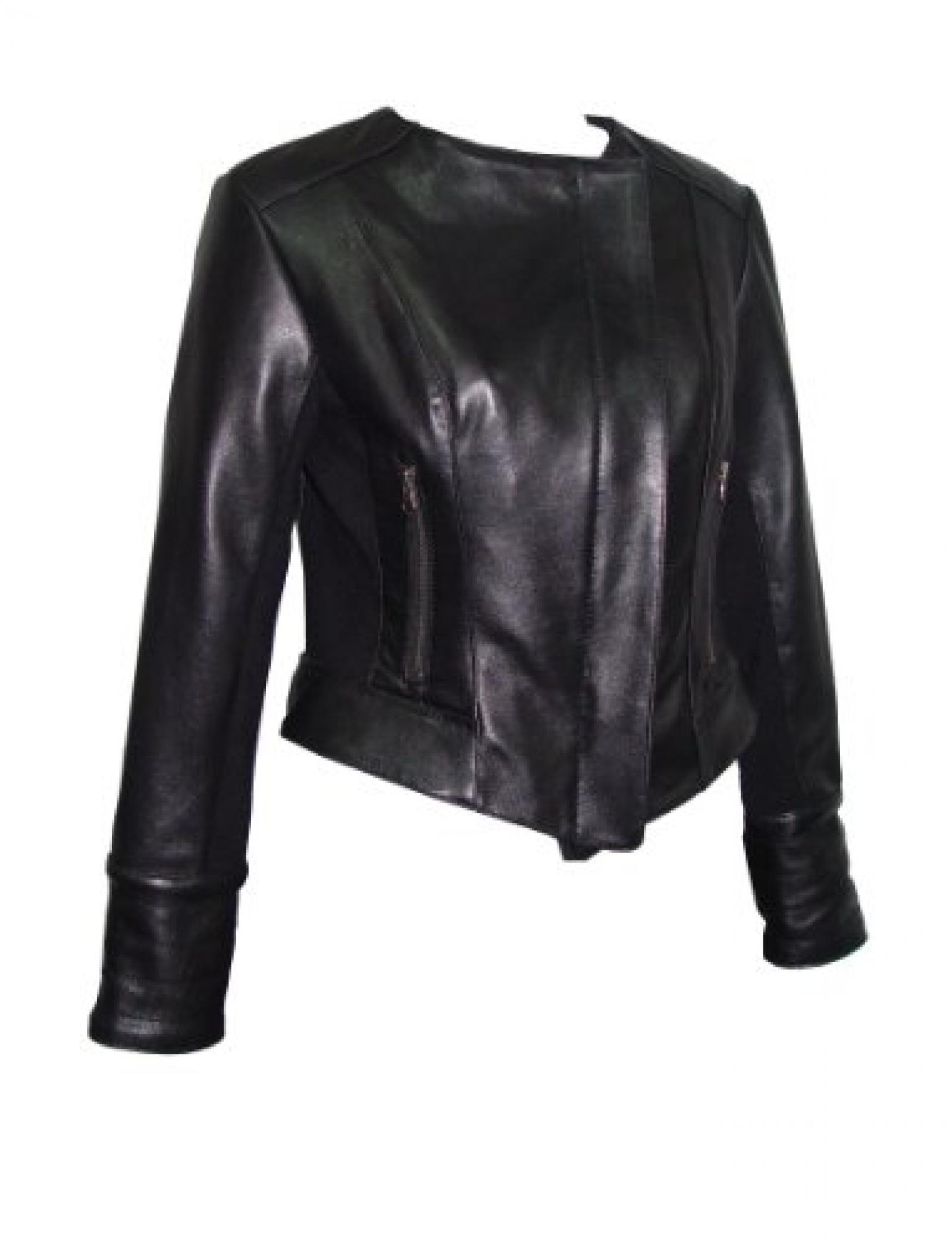 Nettailor FREE tailoring Women PETITE SZ 4070 Leather Moto Jacket Collarless