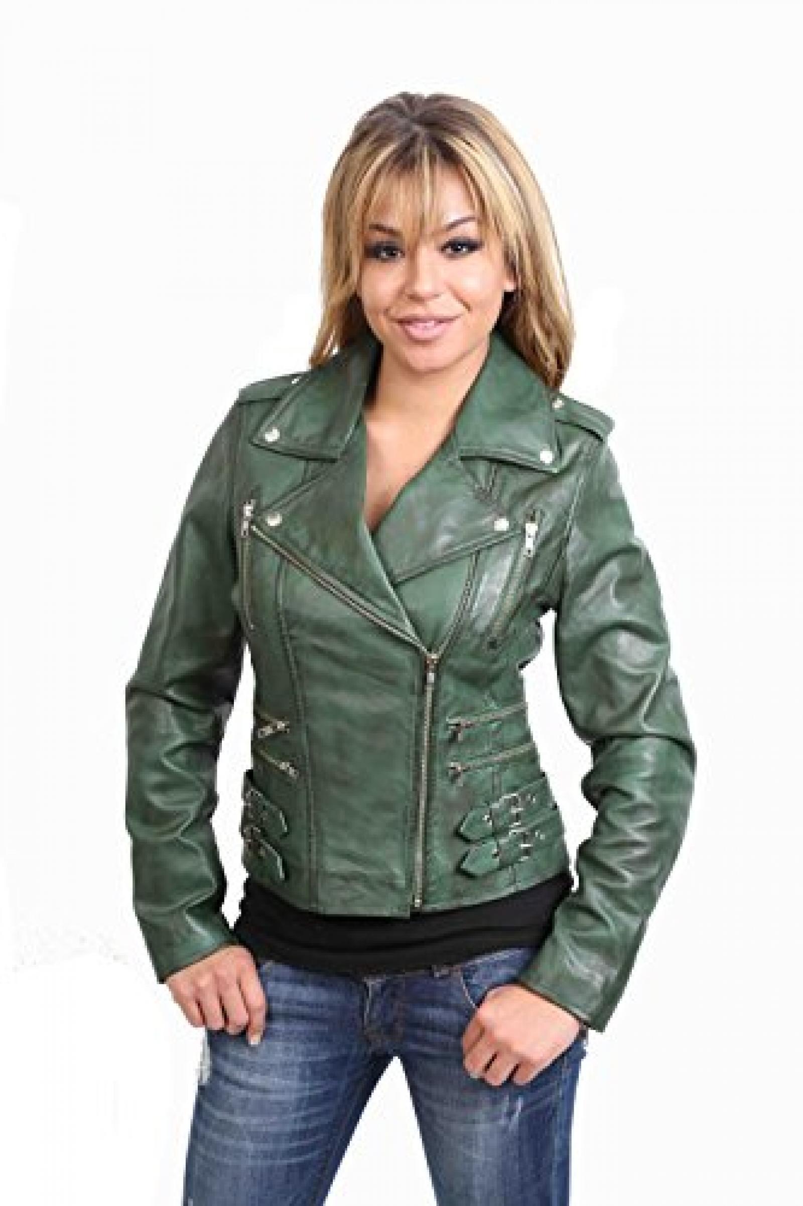 Damen Lederjacke neuste Mode-Stil 7113 Grun