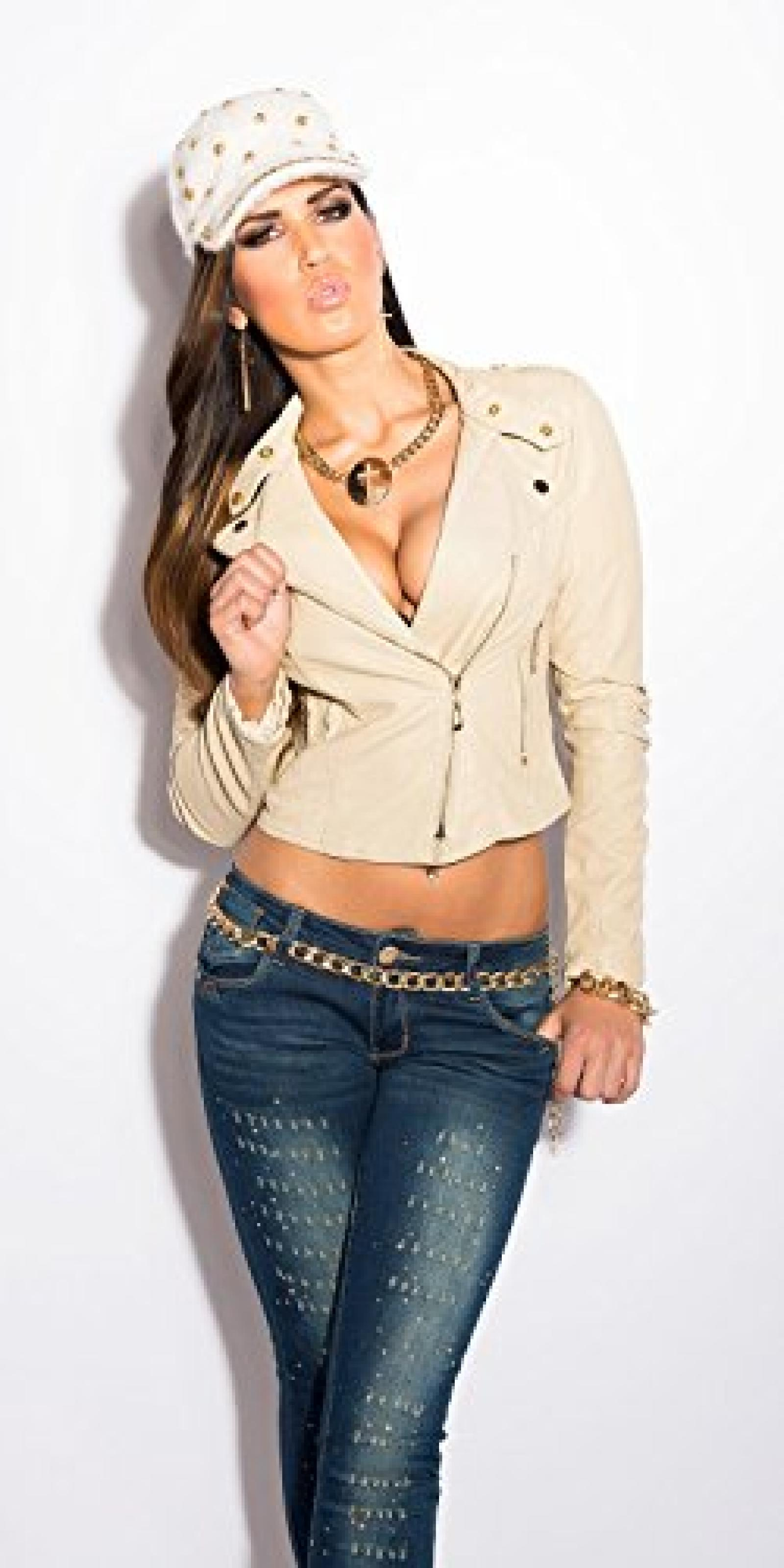 Sexy bikerjacket in leatherlook Koucla by In-Stylefashion SKU 0000LM161608 / Color: BEIGE, Size: XL