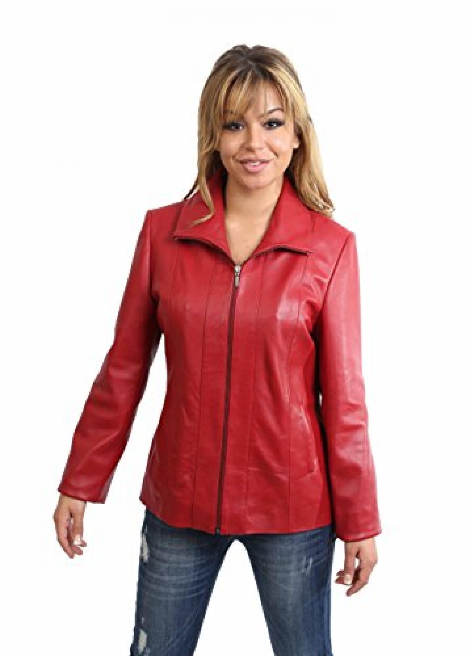 Motorradfahrer Lederjacke für Damen Biker Stil Jacke Frauen Julia Rot