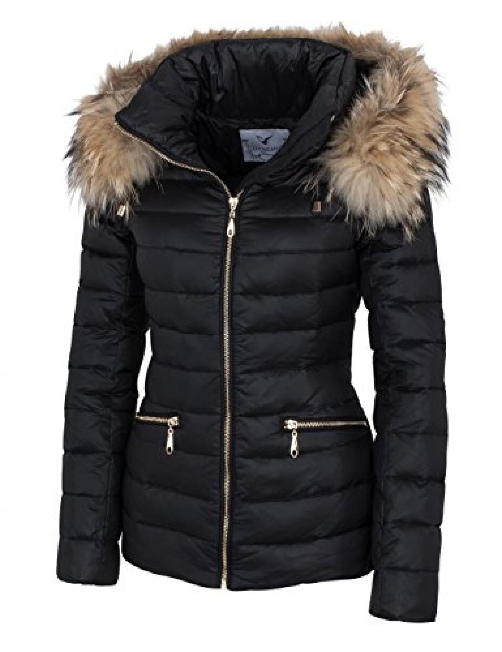 14W015 Damen Daunenjacke mit Echtfellkapuze Winterjacke Jacke mit Echtfell schwarz Herbst/WINTER 2015
