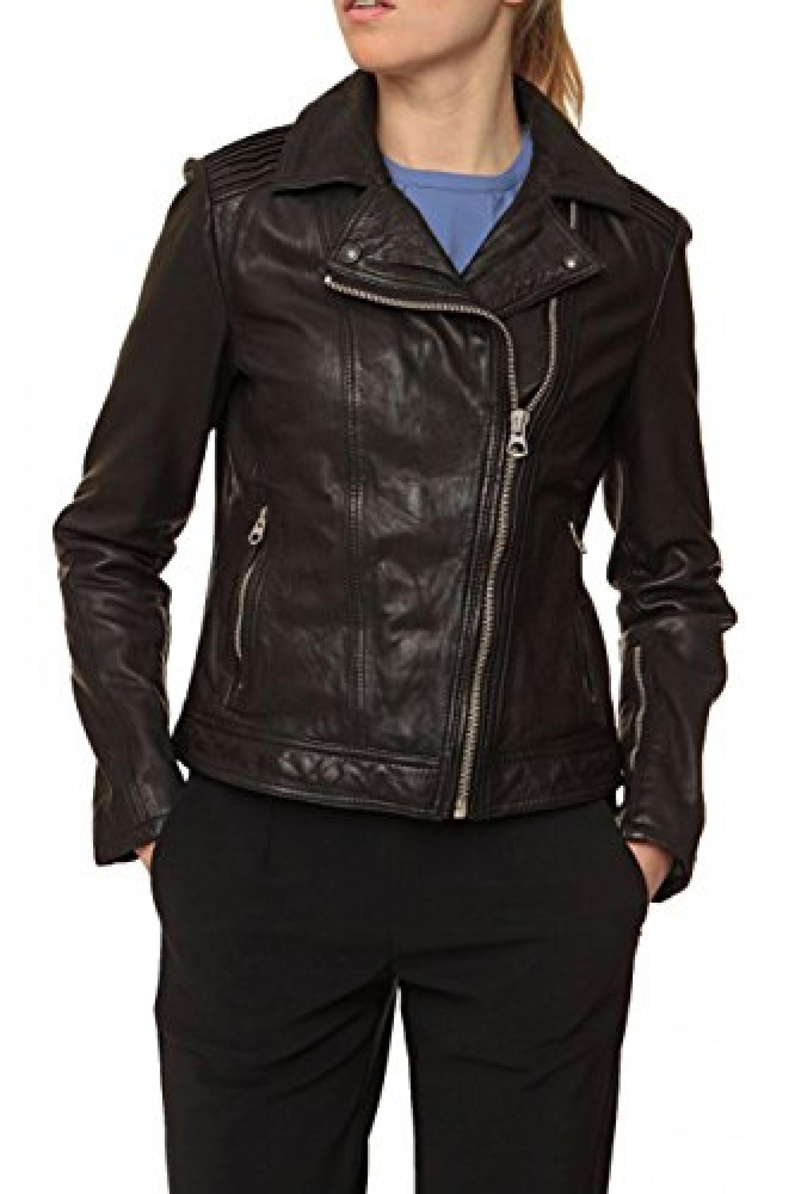 Campus Damen Jacke Lederjacke , Farbe: Schwarz