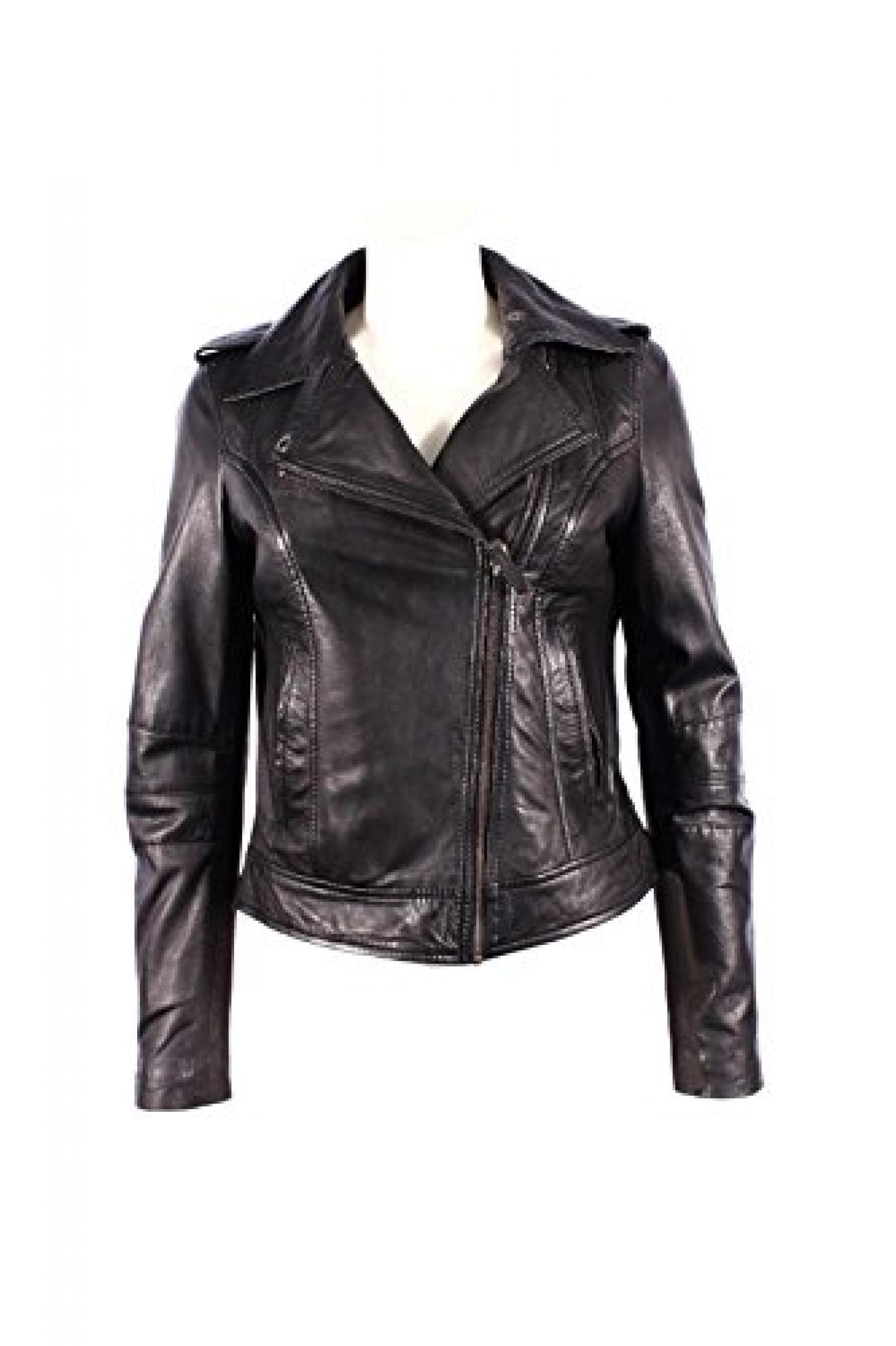 Damen BRANDO 442 Neue schwarze Biker Stil Motorrad Weiche Napa -Leder Felsen Jacket