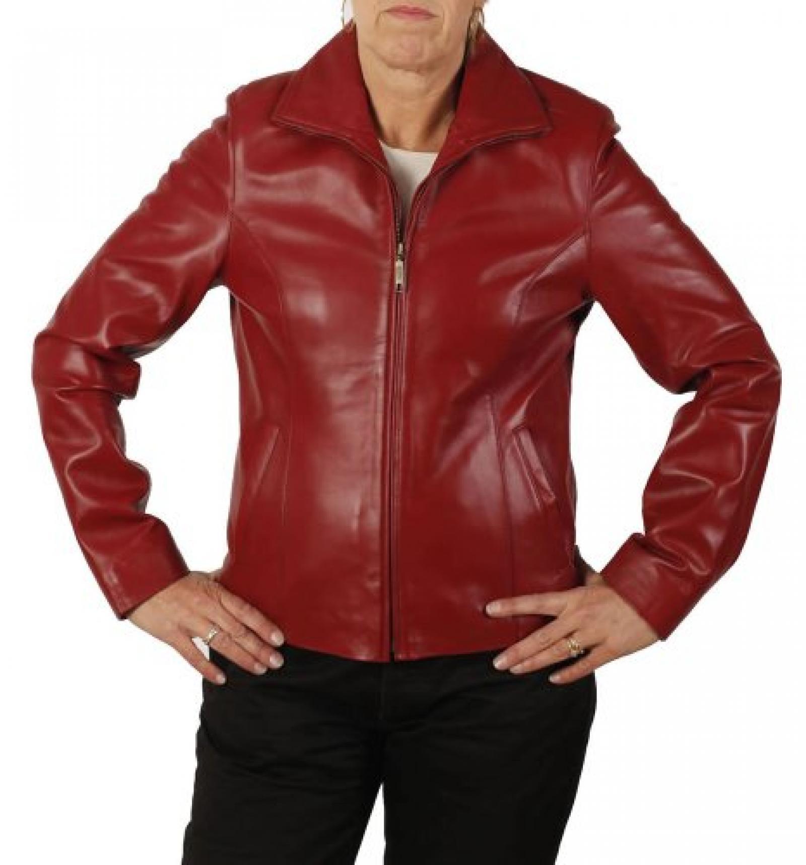 Taillierte Reißverschluss-Jacke aus rotem Leder für die Frau