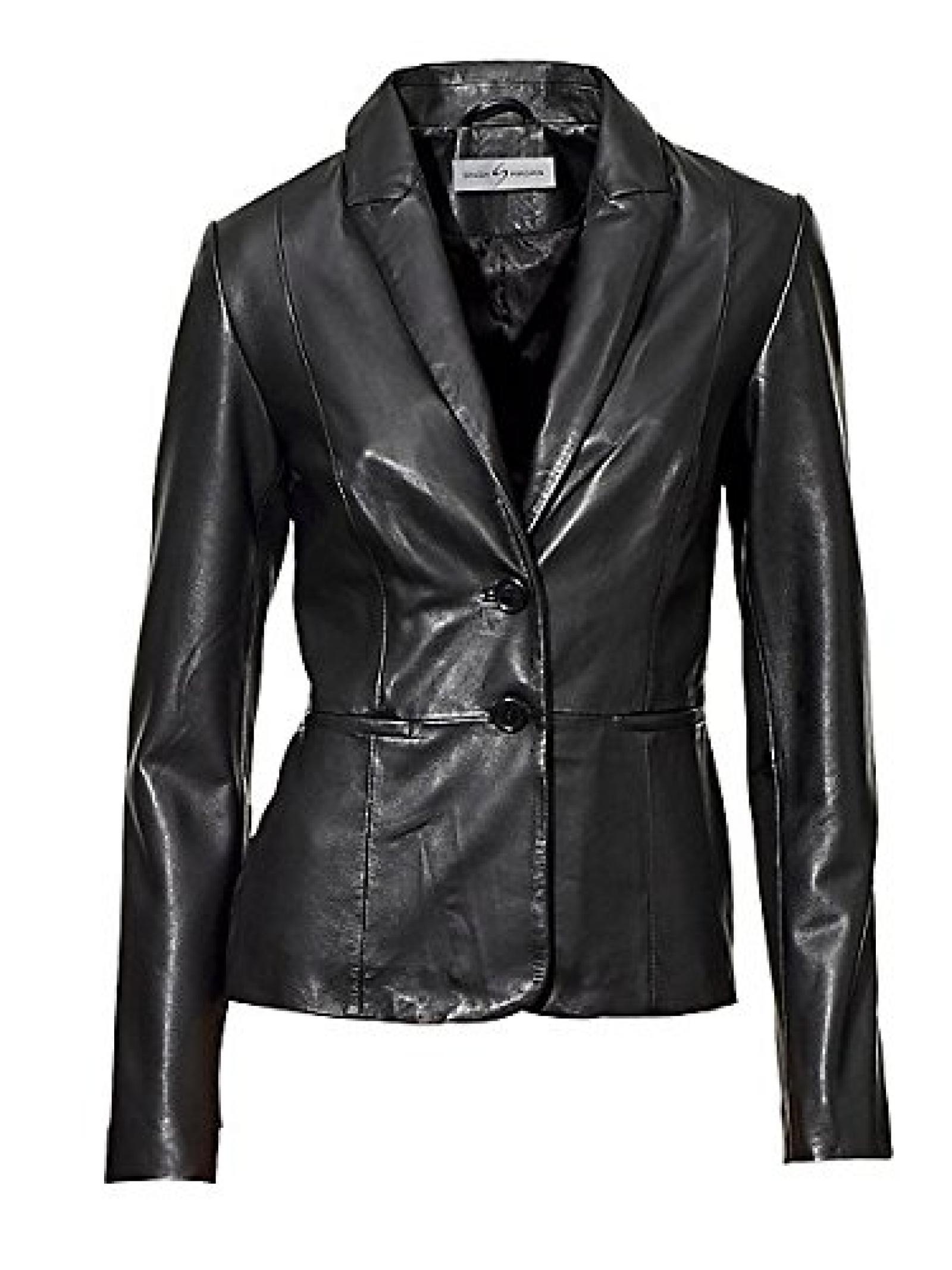 Damen SINGH S. MADAN Lederjacke in schwarz - Größe: 40
