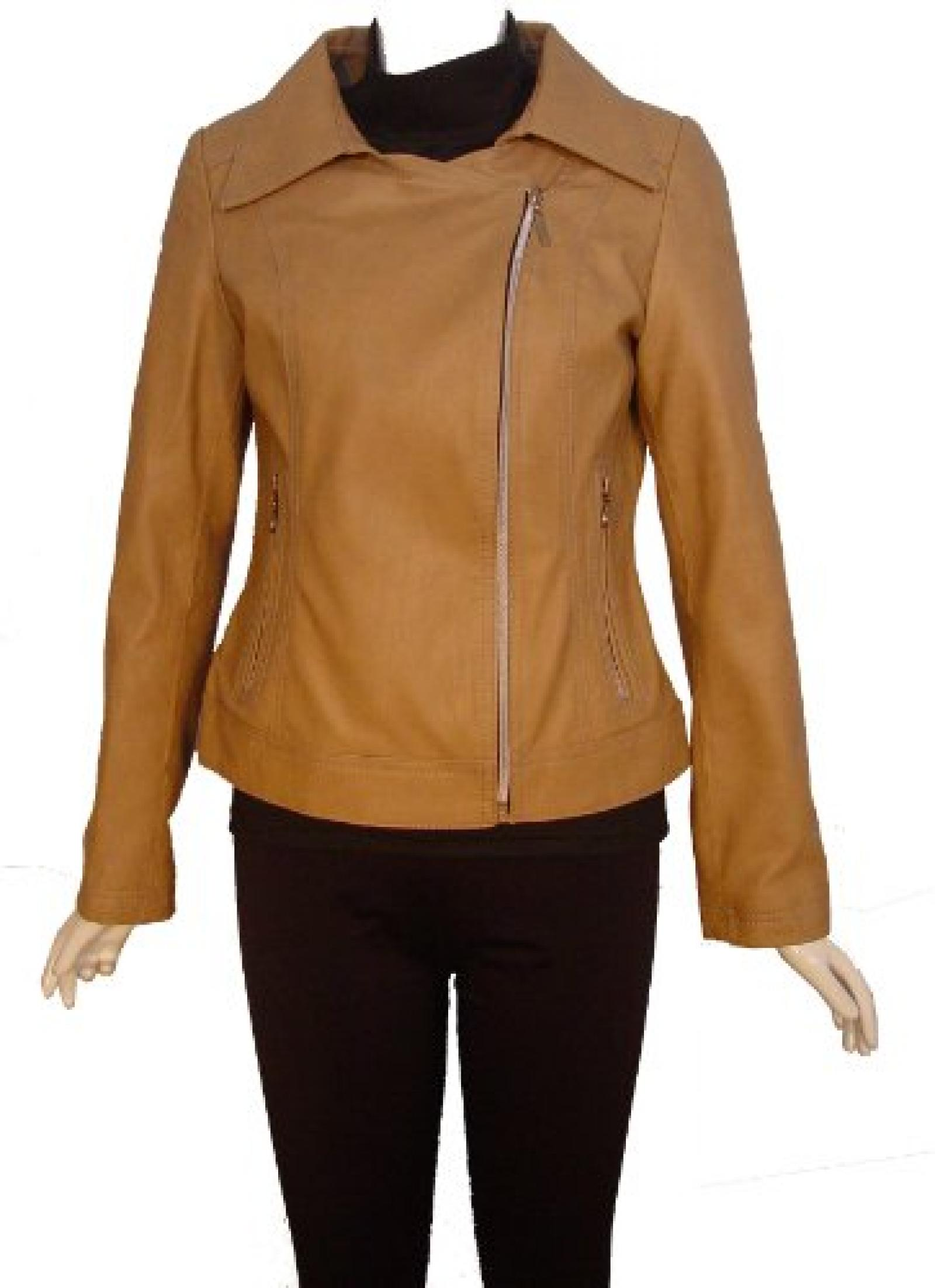 Paccilo FREE tailoring Women 4094 Leather Moto Jacket Open Bottom Zip Front