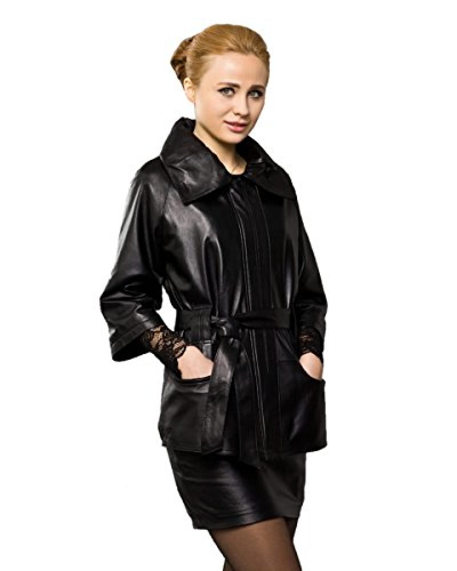 E-Girl New Three Quarter Sleeve Lady Schafspelz,echtem Leder Deman Jacken & Mäntel ,Schwarz
