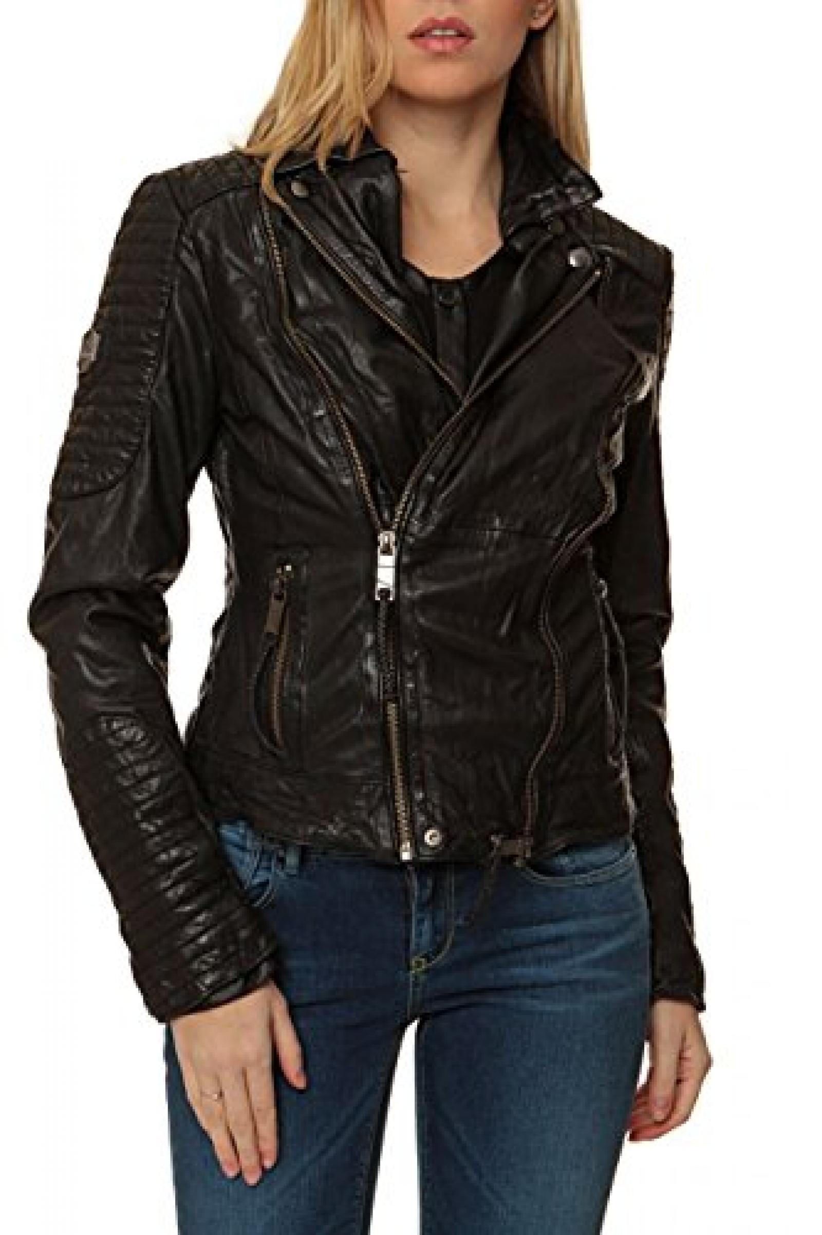 Maze Damen Jacke Lederjacke , Farbe: Schwarz