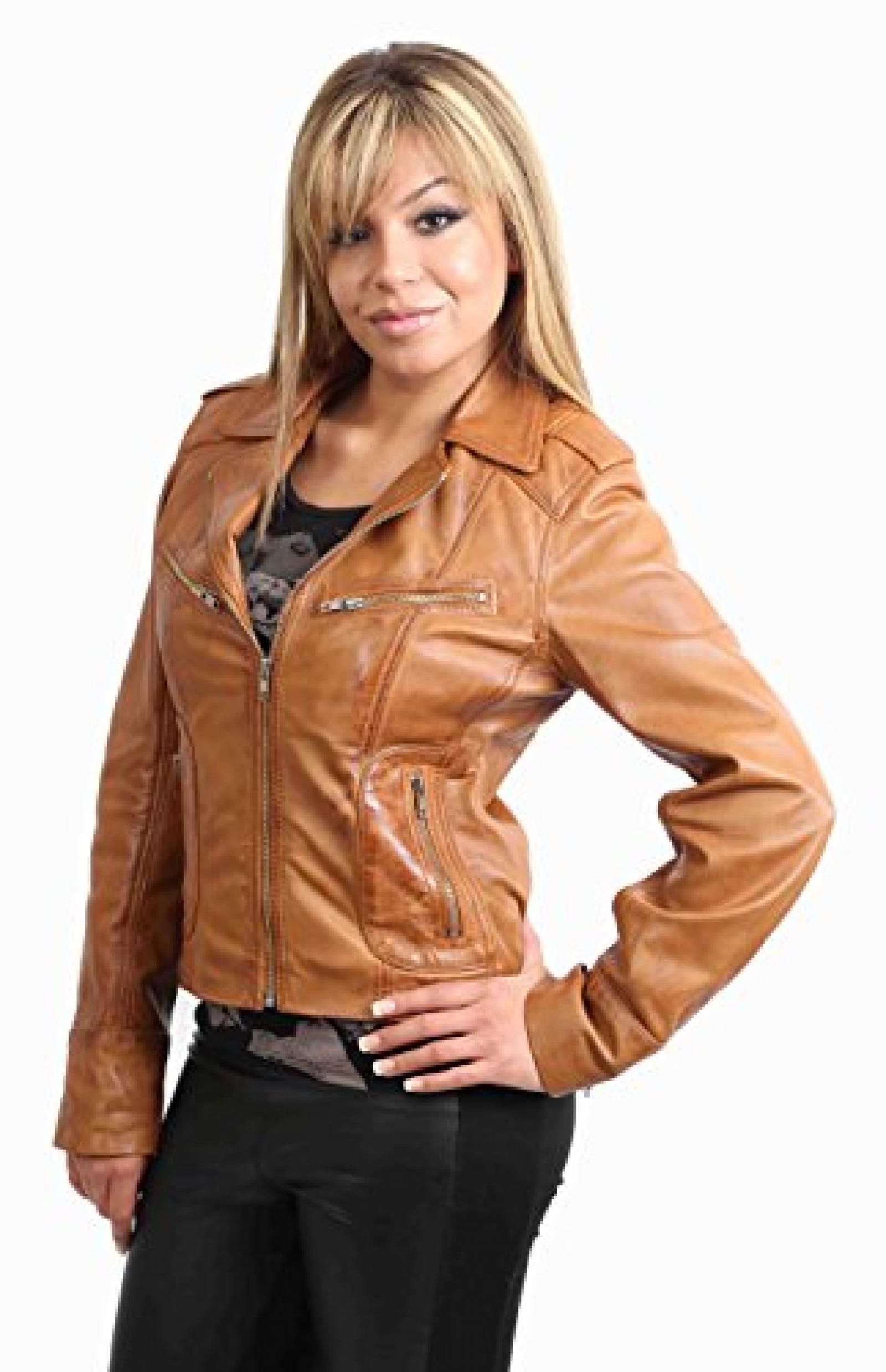 Damen Lederjacke neuen italienischen Motorradfahrer Jacke Stil 9823 Braune