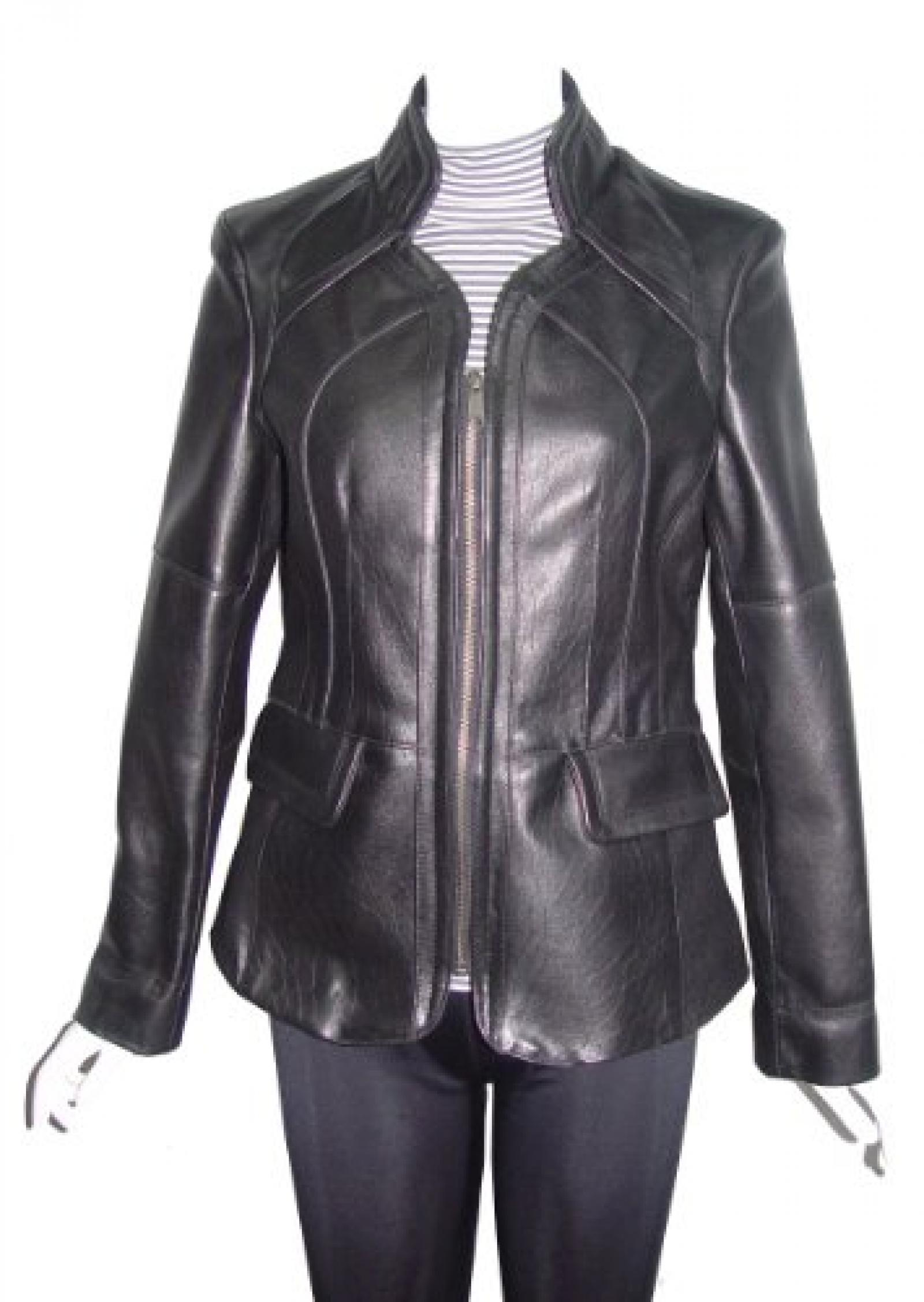 Paccilo FREE tailoring Women 4153 Leather Moto Jacket Open Bottom Zip Front