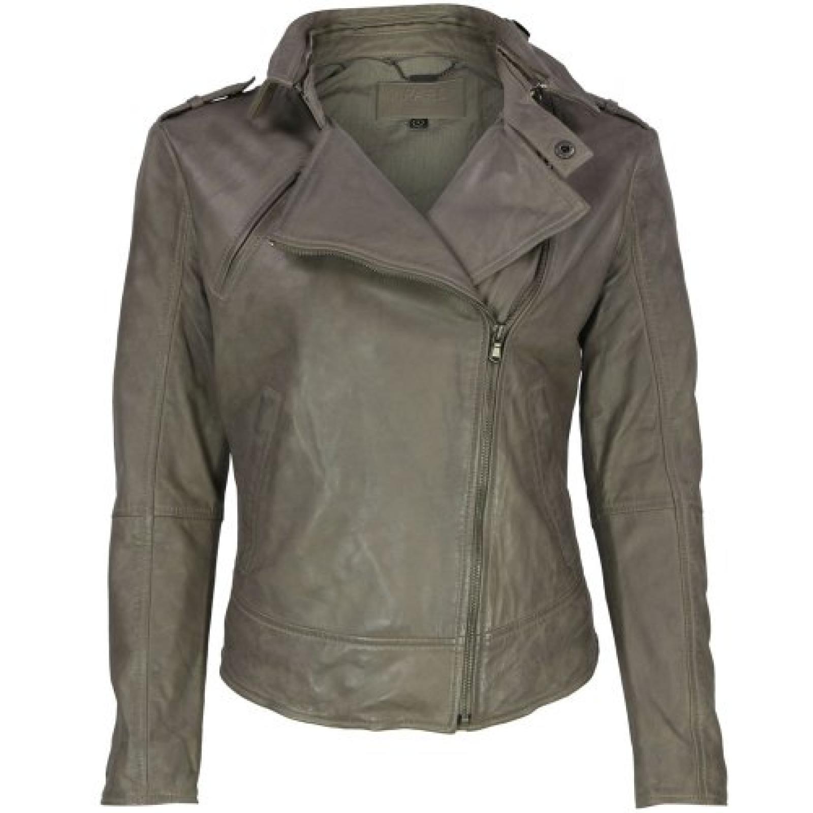 VIPARO Khaki Aymmetrical Biker Leather Jacket - August