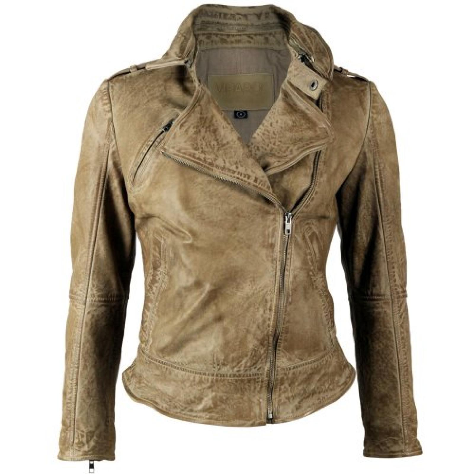VIPARO Latte Stonewash Asymmetrical Biker Lambskin Leather Jacket - Kendall