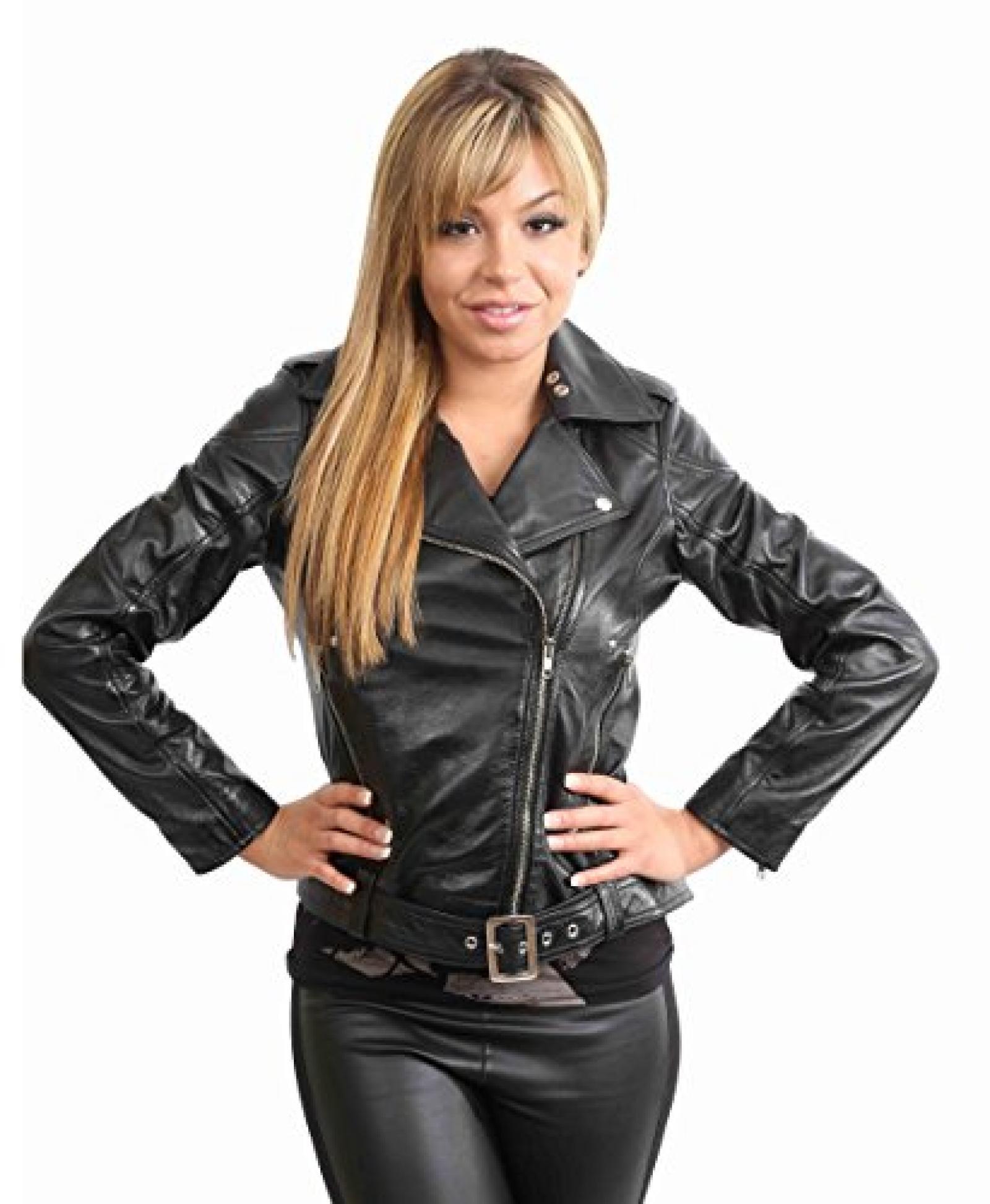 Damen kurze Biker Lederjacke für Frauen IVY Schwarz