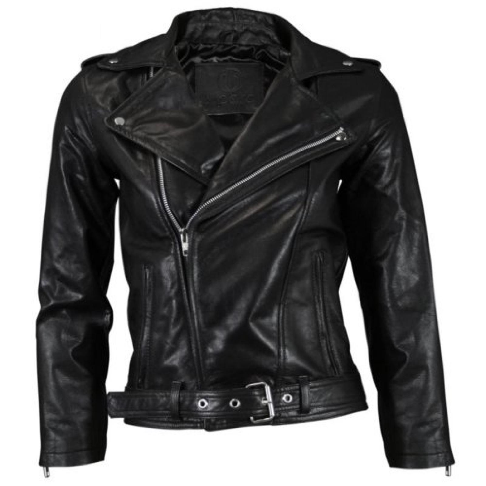 VIPARO Womens Black Cropped Sleeve Leather Biker Jacket - Kiera