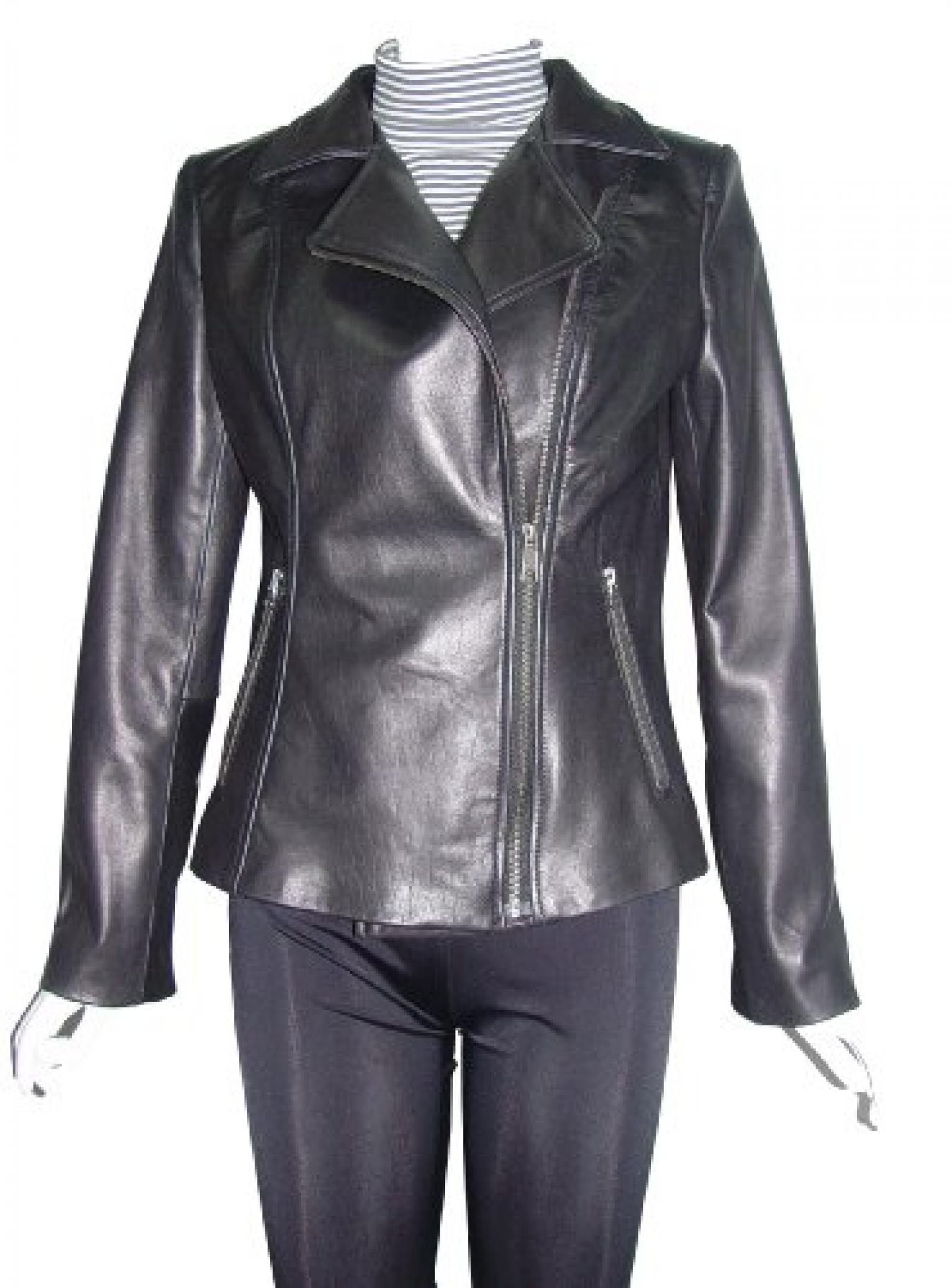 Paccilo FREE tailoring Women 4099 Leather Moto Jacket Open Bottom Zip Front