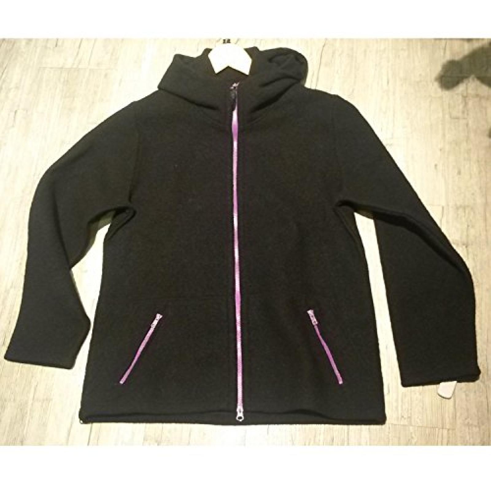 Mufflon Nele, Damen Wolljacke, schwarz mit pinkem RV