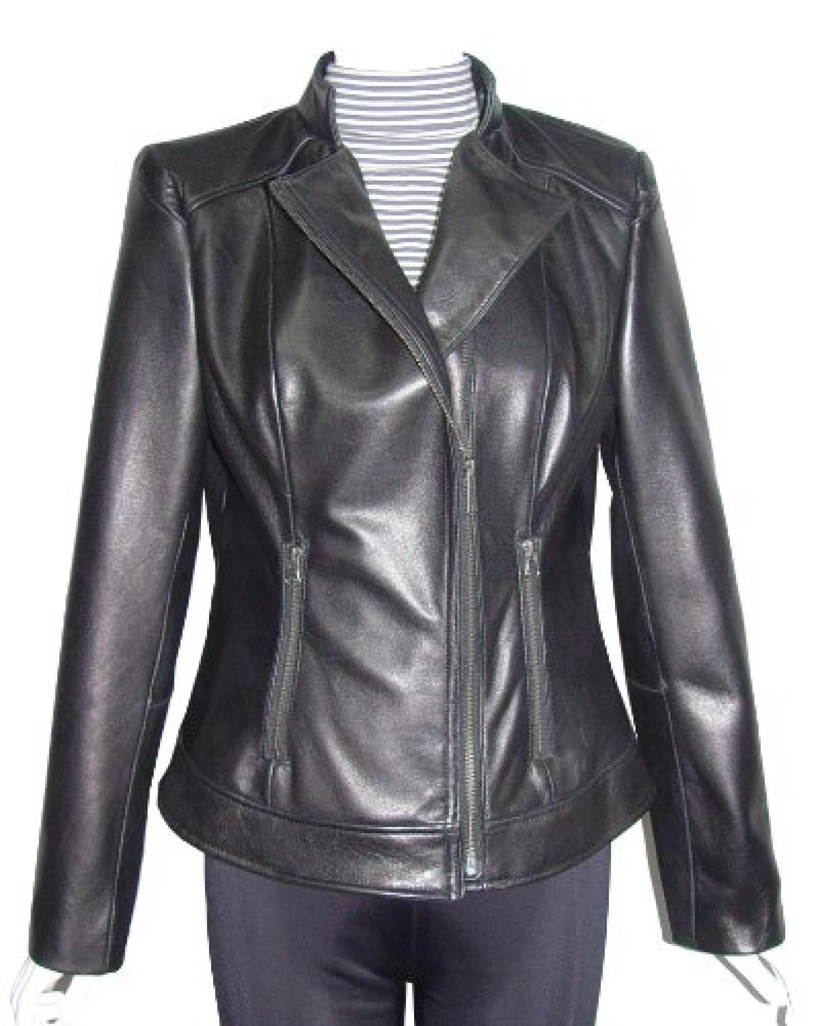 Nettailor FREE tailoring Women 4064 Leather Moto Jacket Stand Collar