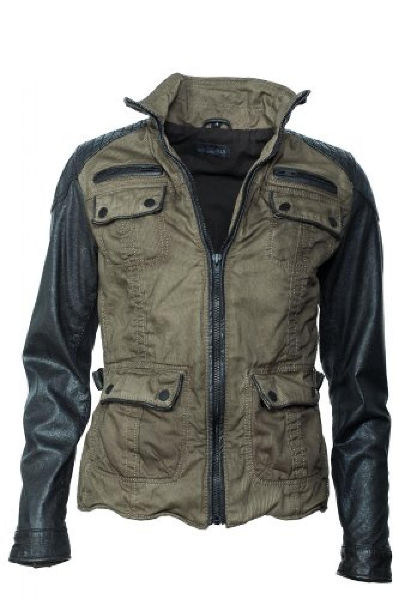 Top-modische Rockn blue Jacke brandaktueller Leder-Stoff Materialmix
