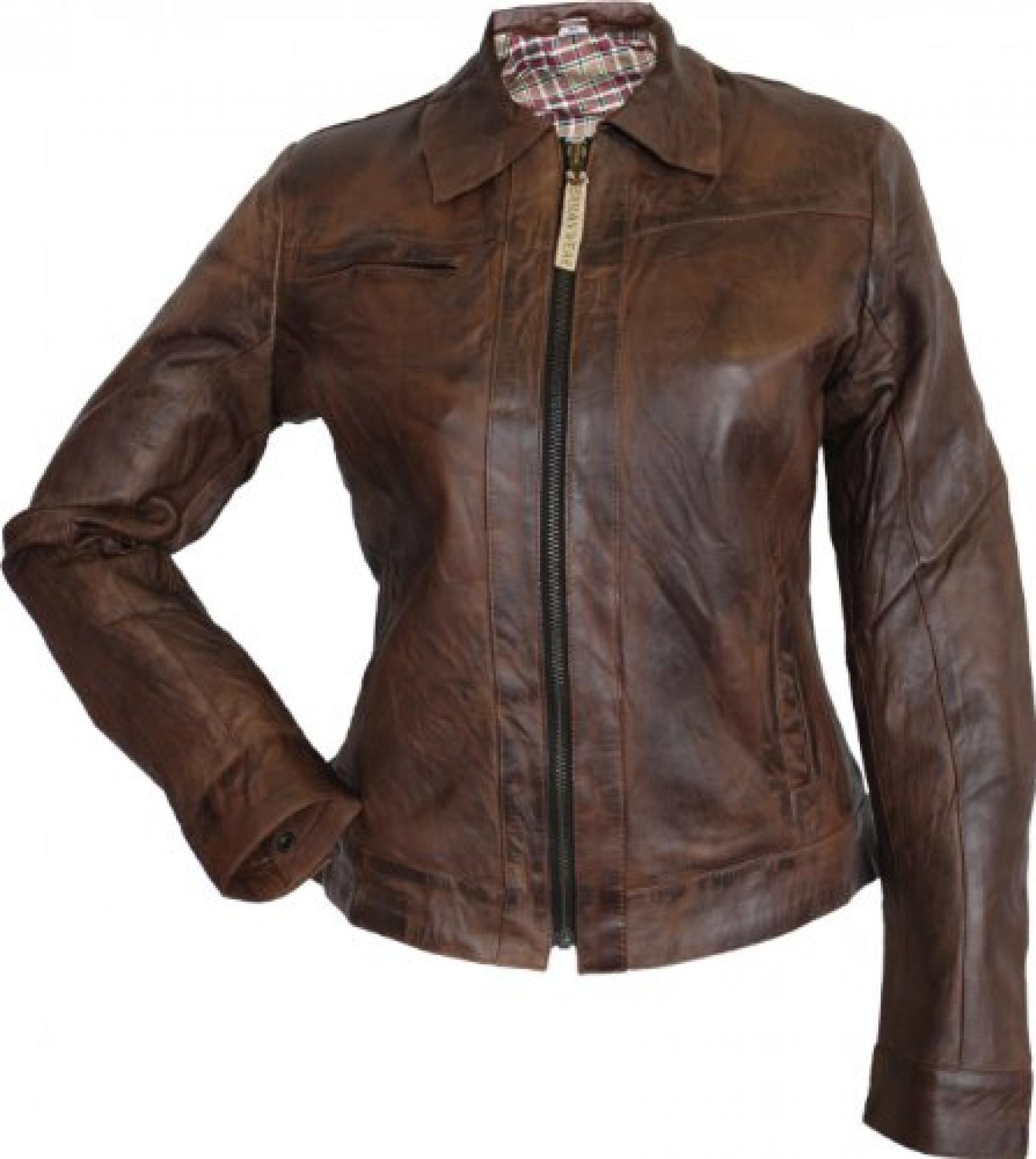 Damen Lederjacke echtleder Antikleder Jacke aus Lammnappa Leder Knitterlook Braun