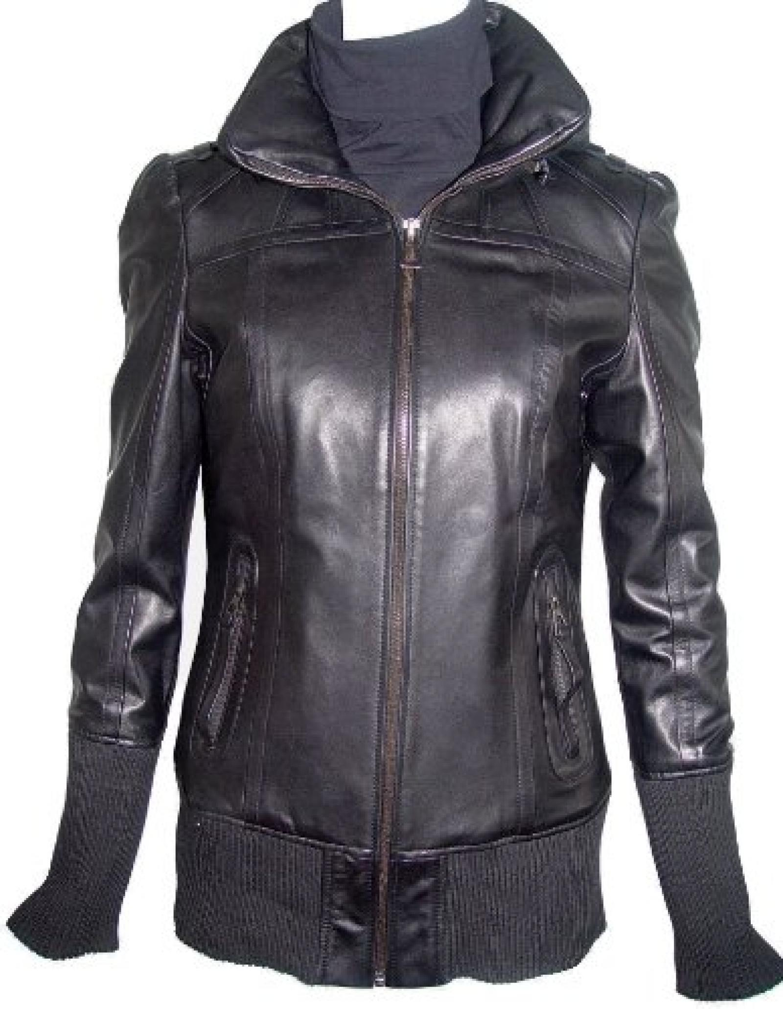 Paccilo FREE tailoring Womens 4021 Plus Size Short Leather Jacket