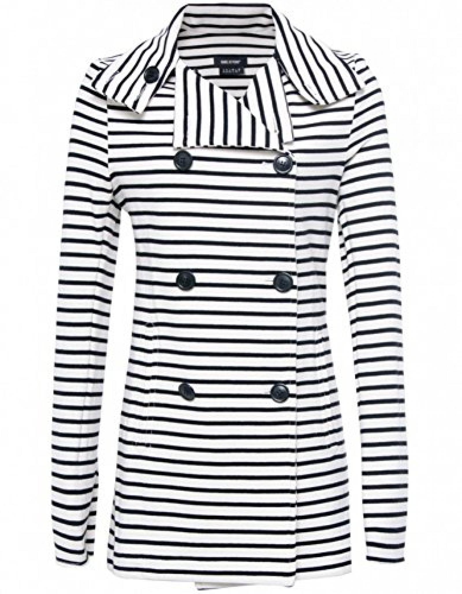 Isabel De Pedro Double Breasted Stripe Jacket BLK/wht