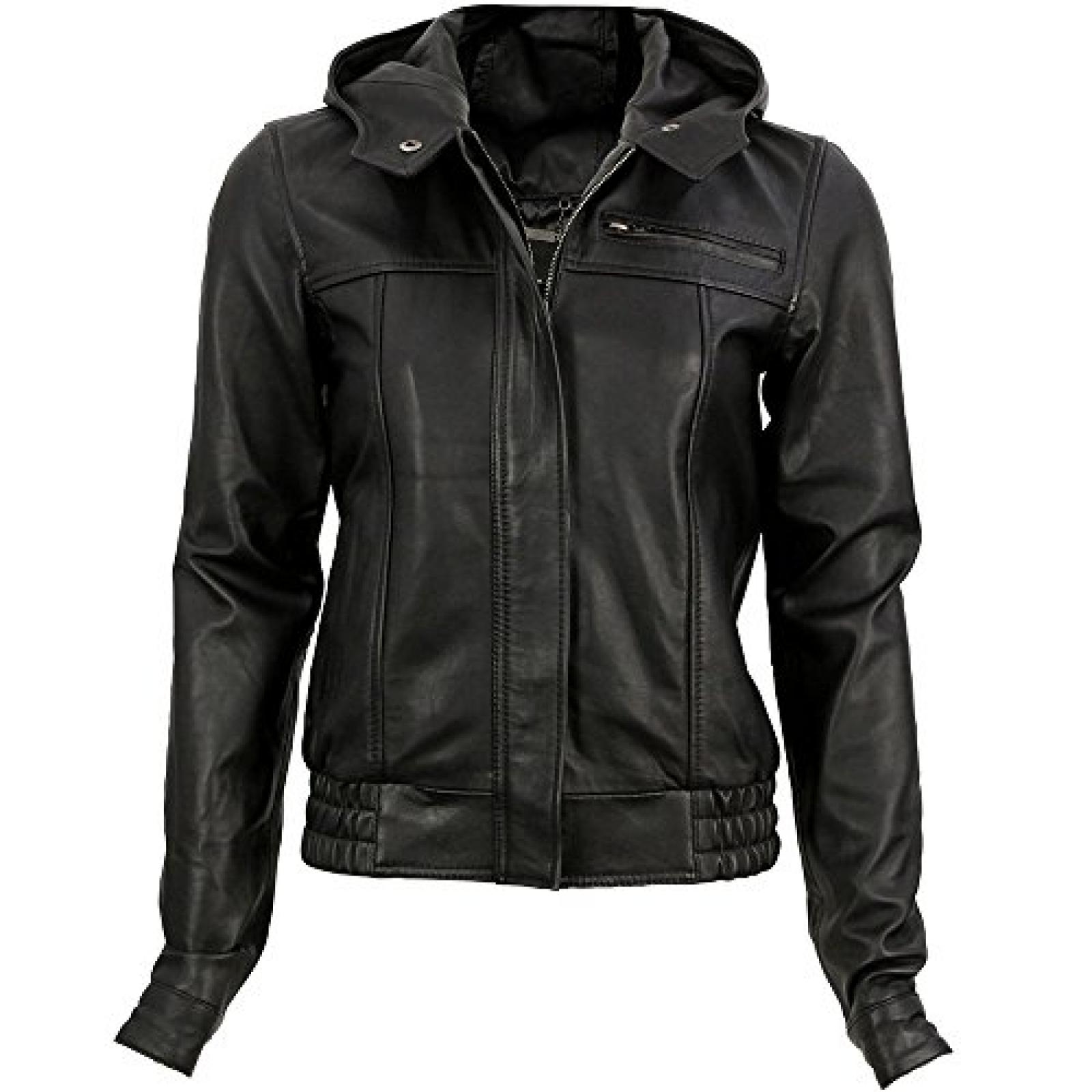 VIPARO Black Urban Hooded Bomber Leather Jacket - Simona