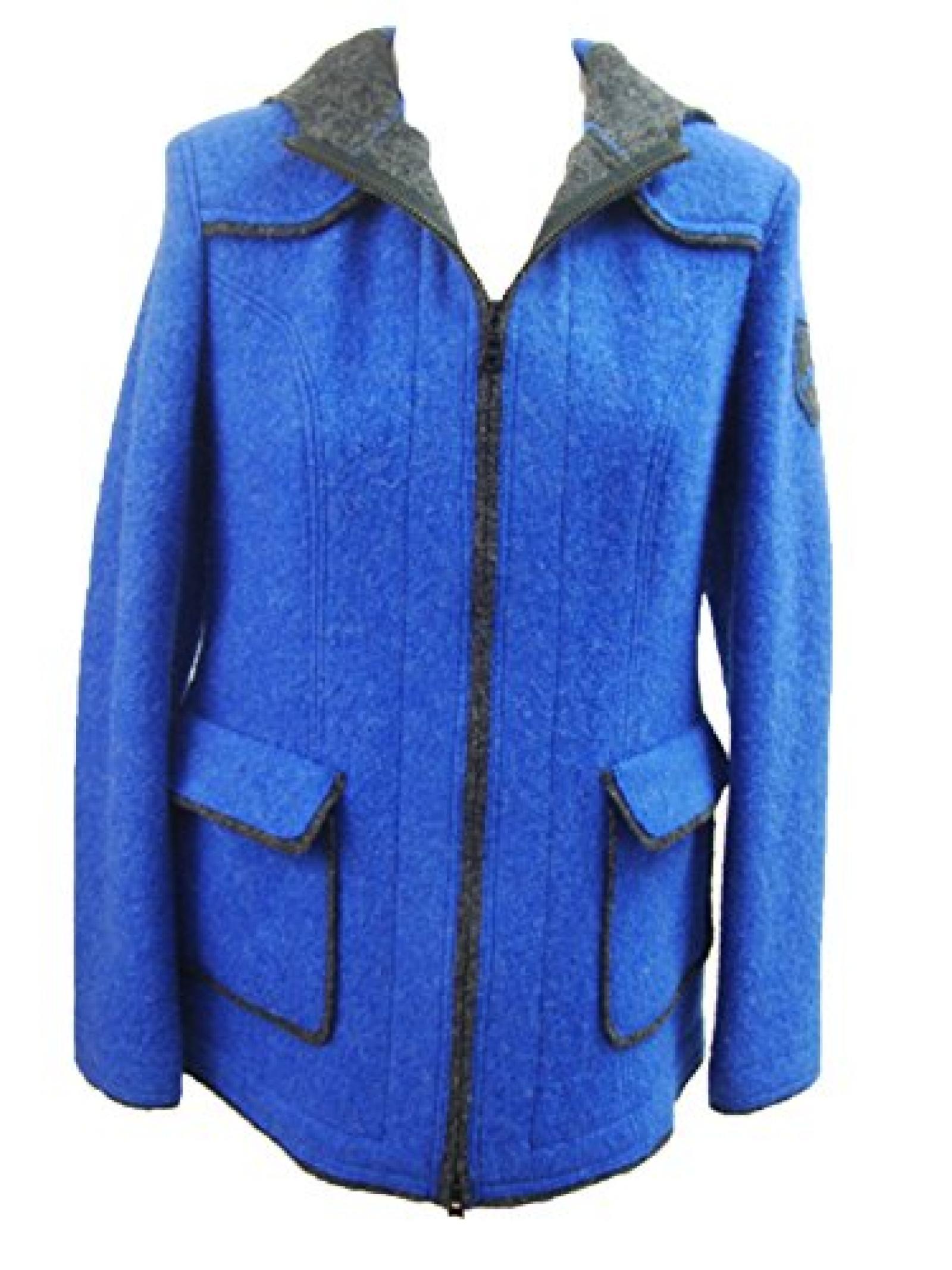 Damen Walkjanker Winterwolljacke blau mit Reißverschluss und Kapuze