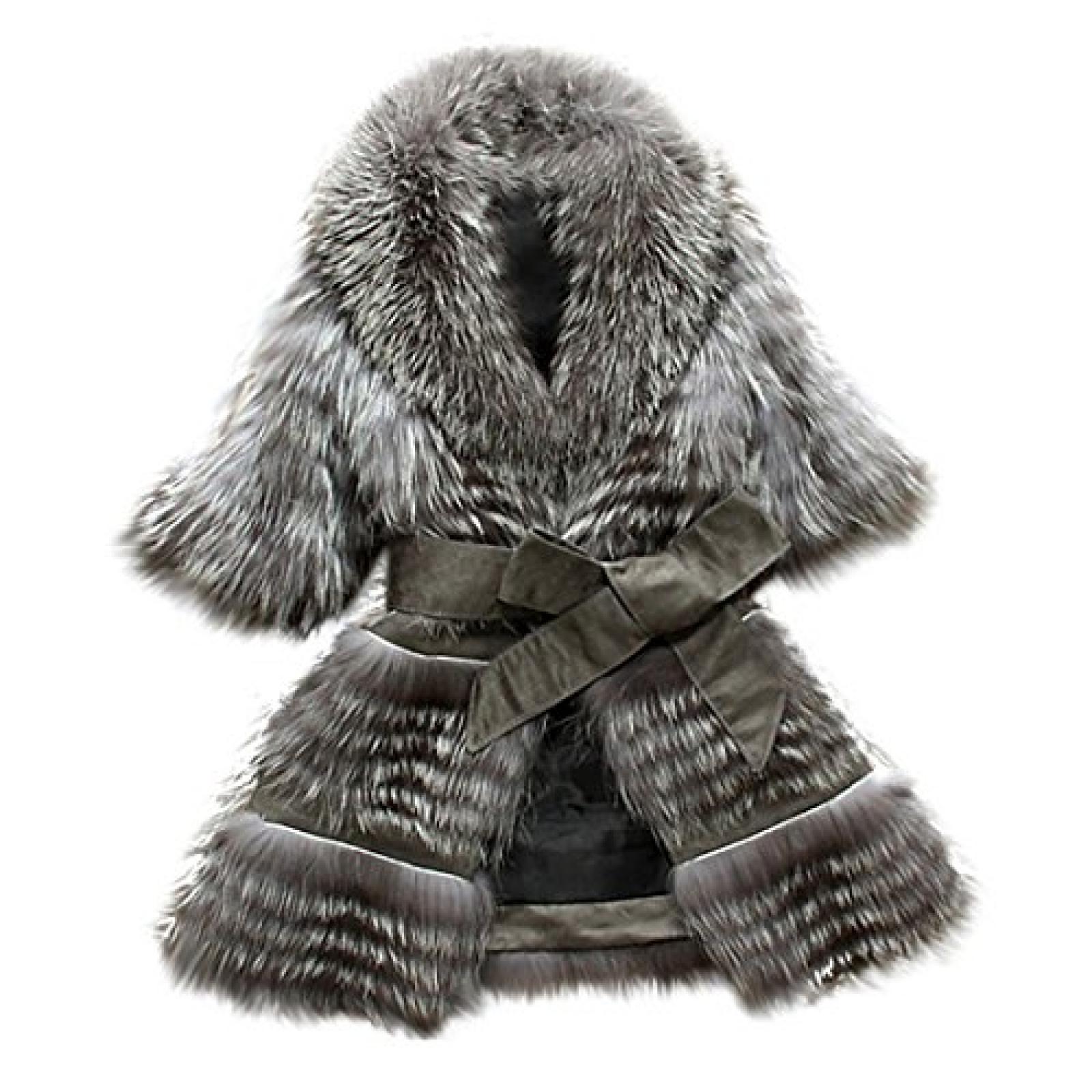 Imixlot Frauen Fuchspelz Mantel Jacke Weste/Vest Oberbekleidung