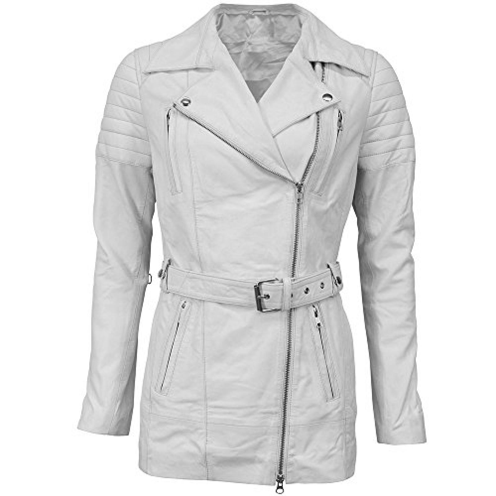 VIPARO White Lightweight Leather Quilted Biker Coat - Avery