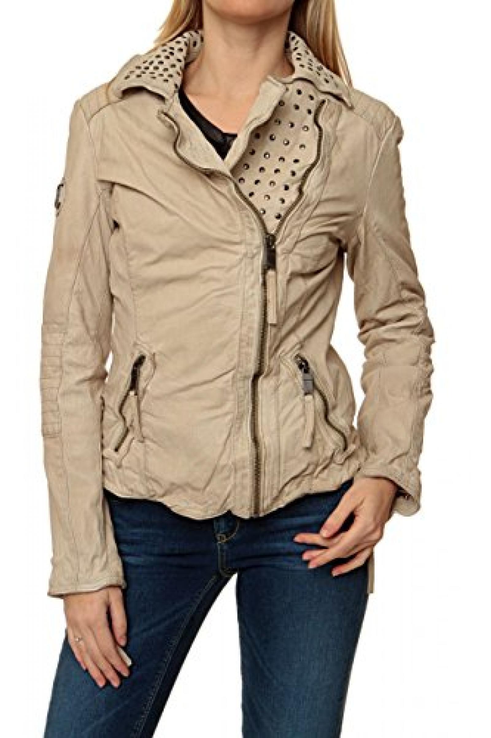 Maze Damen Jacke Lederjacke , Farbe: Beige