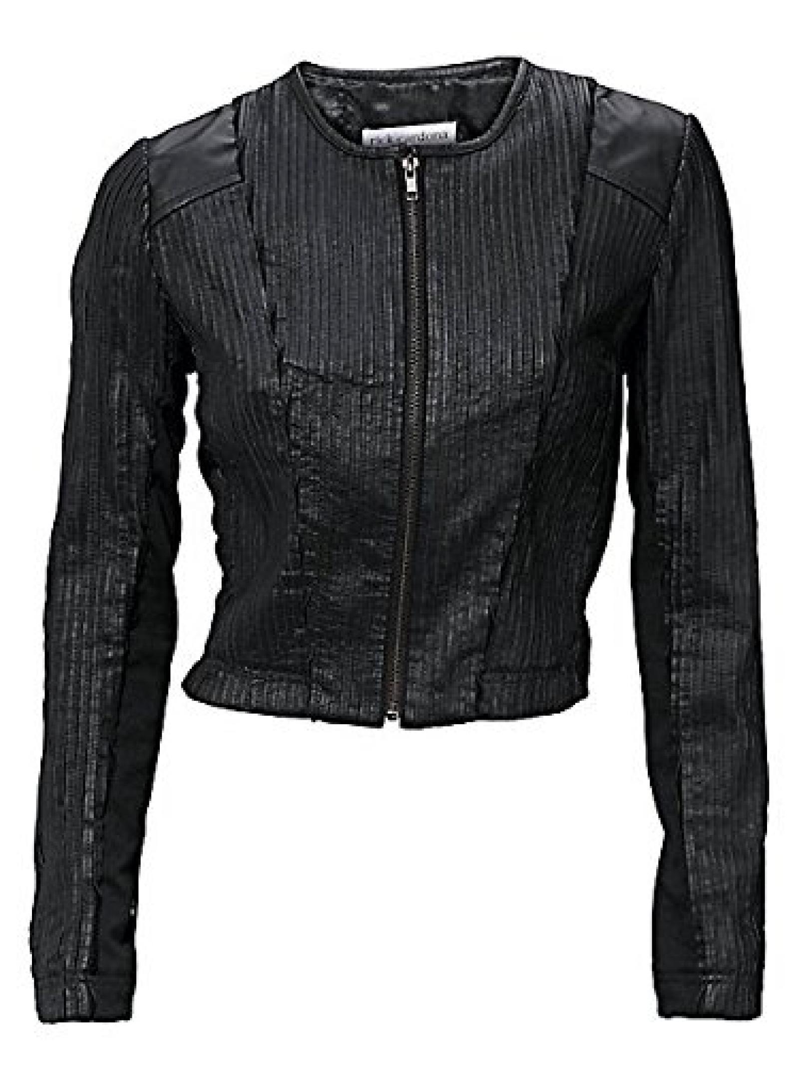 Damen RICK CARDONA Lederjacke in schwarz - Größe: 34