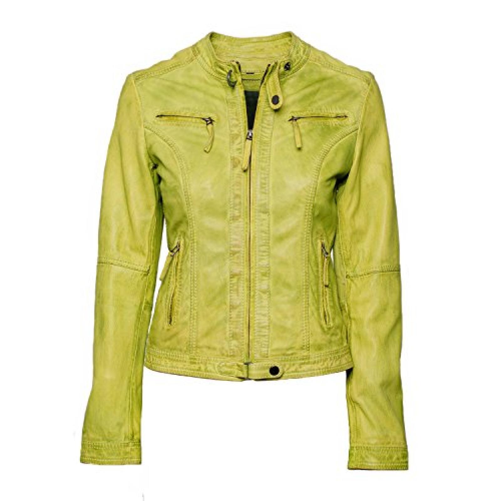 """Jacke """"Amarillo"""" von MaraMahr im Biker-Style aus weichem Lammleder für Damen in hellgrün"""