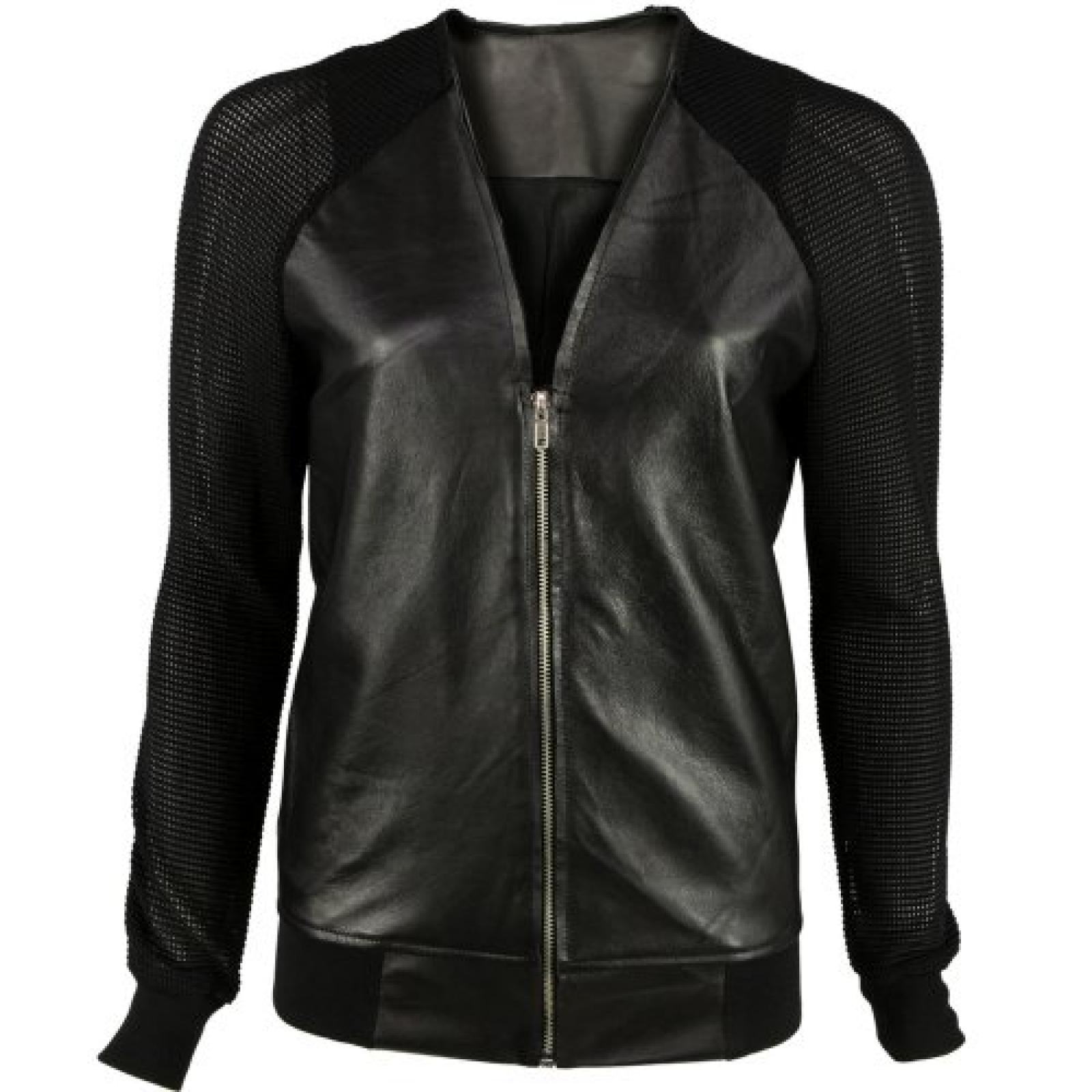VIPARO Black Varsity Leather Jacket with Mesh Lightweight Netted Sleeves - Rodie