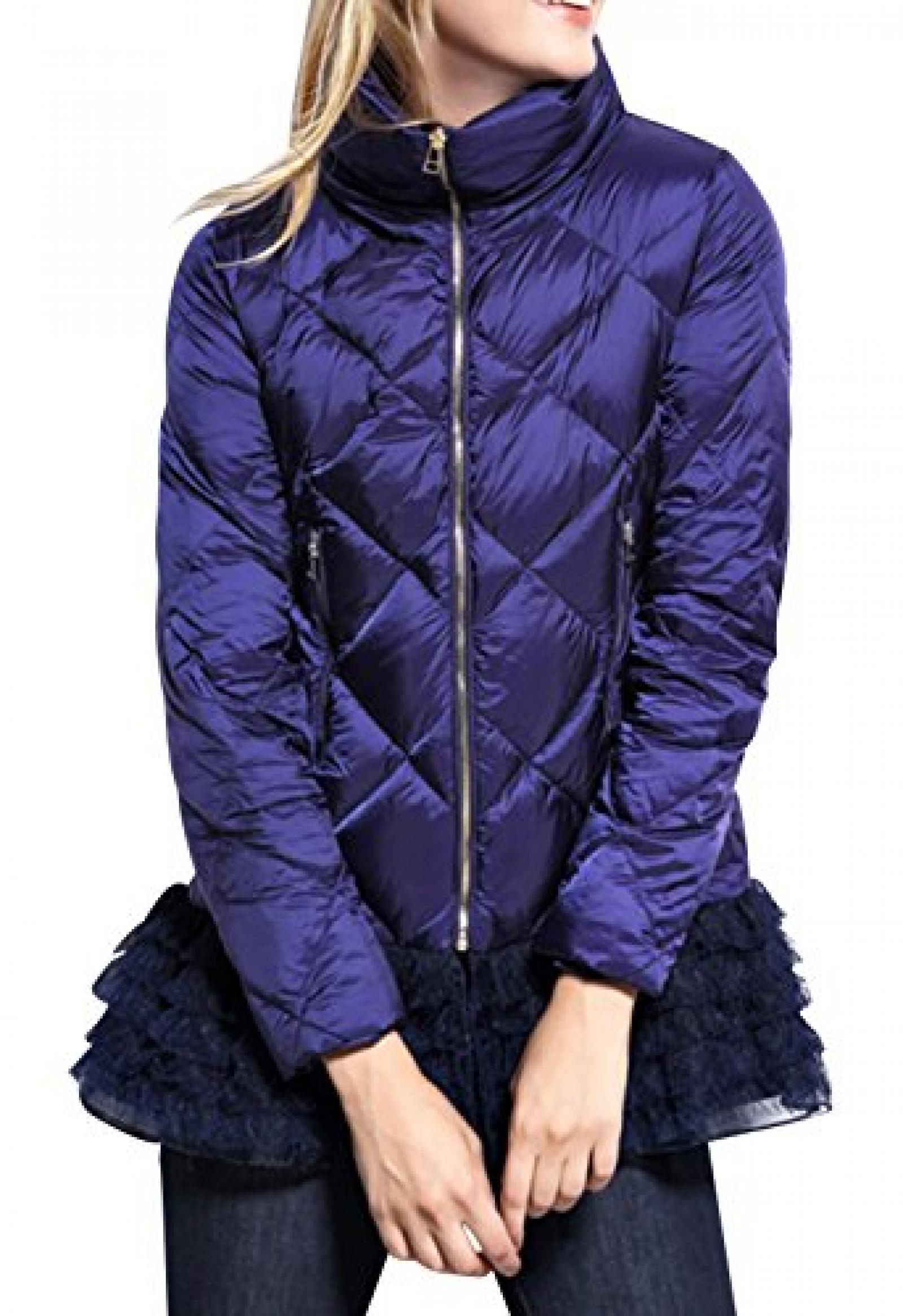 HD Damen Daunenjacke Leicht Winterjacke Steppjacke Patchwork Kariert Trends Fashion