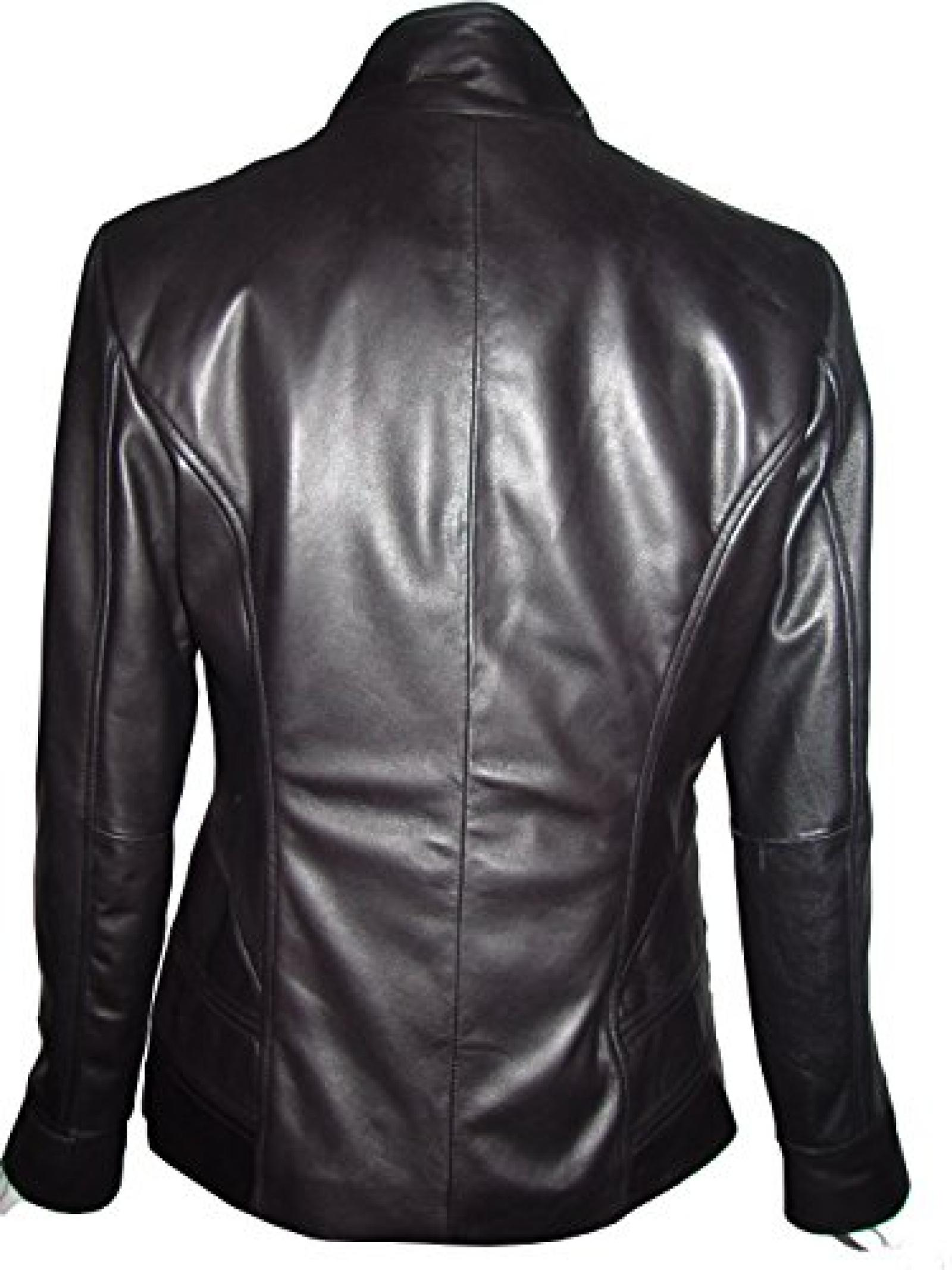 Nettailor Women 4194 Soft Leather Casual Jacket China Collar Flap Chest Pocket