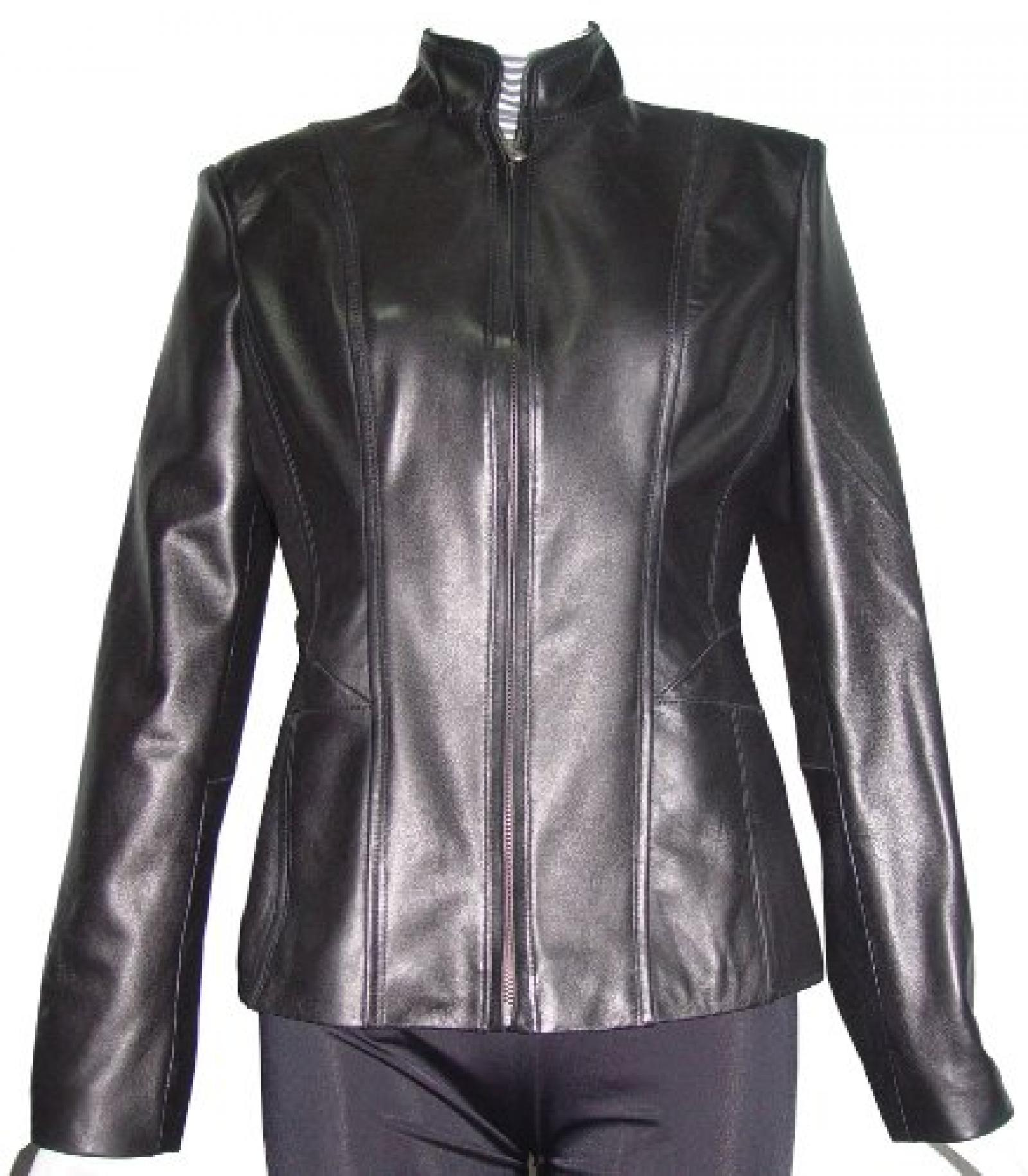 Nettailor Women 4187 Soft Genuine Leather Simple Easy Biker Jacket China Collar